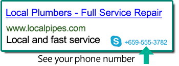 Screenshot of a Call Extension displayed in a search ad.