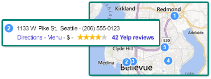 Illustration of a business listing shown with its corresponding location on a map.