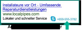 Screenshot einer Anruferweiterung in einer Suchanzeige.