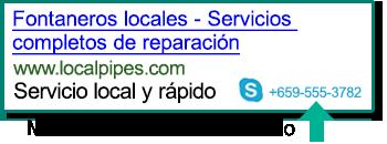 Captura de pantalla de una Extensión de llamada mostrada en un anuncio en buscadores.