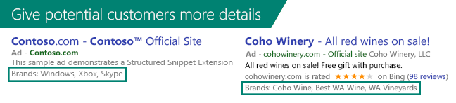 Screenshot showing an example of Structured Snippet Extensions displayed below a  search ad.