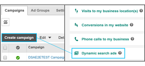 create dynamic search ads campaigns