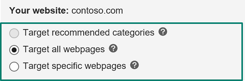 target all webpages option