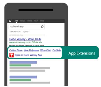 Esempio di come utilizzare un'estensione app per attirare ricerche in modo che venga utilizzata l'app