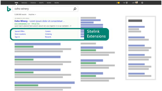 Examples of where sitelink extensions could show in your ad