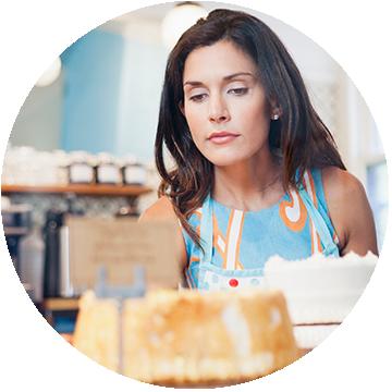 Woman working in bakery