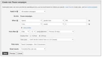 You can specify when you want campaigns to pause automatically by using automated rules
