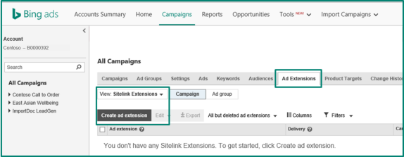 Create ad extension