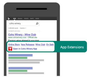 An example of how an app extension can be used to drive searches to use your app