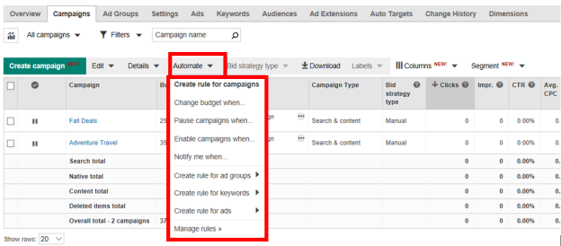 Create a Bing Ads automated rule