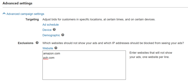 Screenshot of entry fields for Website exclusions in Advanced settings.