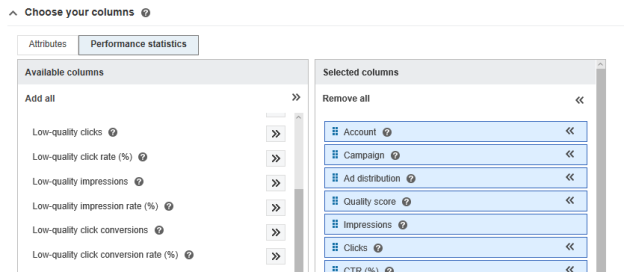 Screenshot of Reports page and where to select click and impression quality metrics in your performance reports.