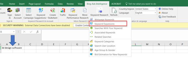 Gebotsschätzung für neue Keywords