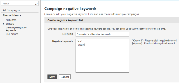 Negative keywords and website exclusions