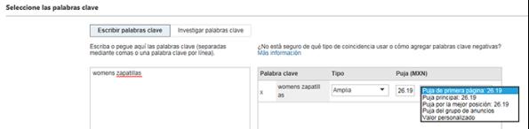 """Captura de pantalla de la pantalla de Ingreso de palabras clave en Bing Ads. Las palabras clave """"calzado deportivo para mujer"""" se ingresan con la página principal en la posición de puja de 20 centavos seleccionada."""