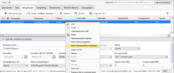 With Bing Ads Editor, you can quickly copy and paste target settings from one campaign to another