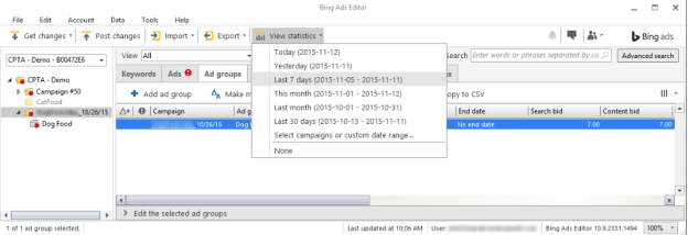 If you need to see a different date range, click on Select campaigns or custom date range at the bottom of the drop-down menu