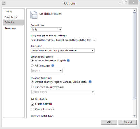 Before importing data, be sure you've set default values, like time zone, ad distribution and keyword match type