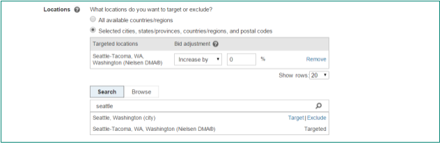 Screenshot of an expanded Locations section revealing two options: All available countries/regions or Selected cities, states/provinces, countries/regions, and postal codes.