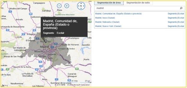 Captura de pantalla del mapa de segmentación de radio con el área de Seattle seleccionada.