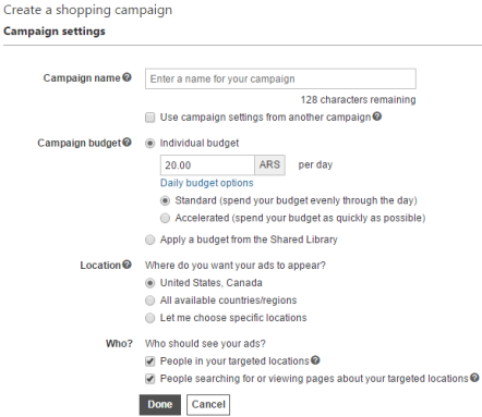 Configuración de campaña