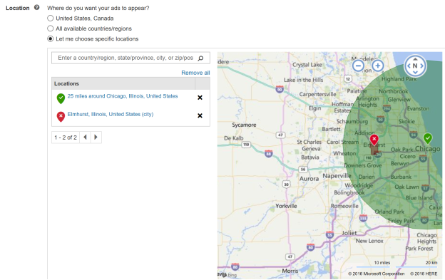 Screenshot of the Excluded locations field