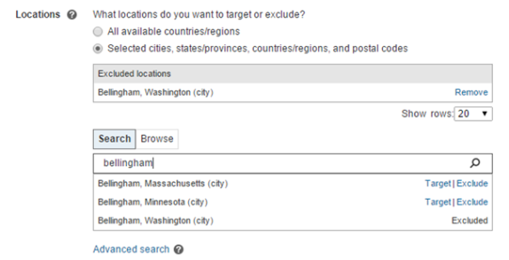Screenshot of the Excluded locations field using Bellingham as an example.