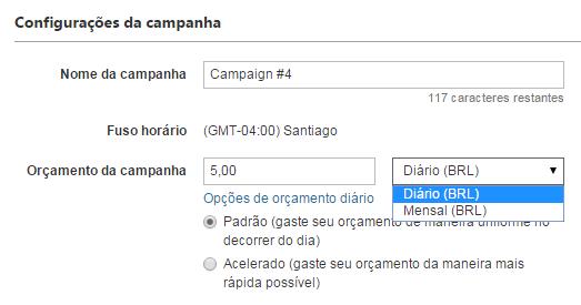 Captura de tela do subtítulo Locais na página Configurações da campanha.