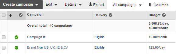 If the ads in a specific campaign are not receiving impressions, check the delivery status of your campaign in the Delivery column of the campaign data summary table