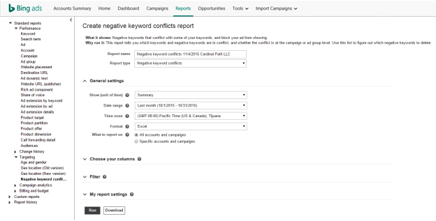 To run a Negative Keyword Conflict report, click reports from the main navigation bar. From here, select the Report Type drop-down menu, then select negative keyword conflicts. Here, you can customize your report to include either your entire account, or specific campaigns and ad groups by clicking radio buttons
