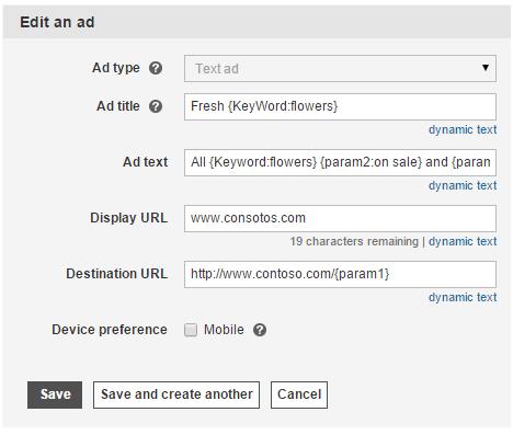 Screenshot of Edit an ad screen.