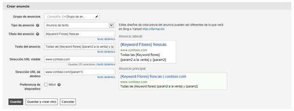Captura de pantalla de la pantalla Crear un anuncio.