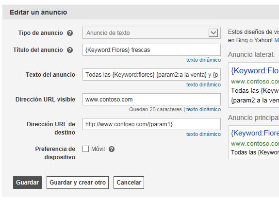 Captura de pantalla de las diferentes maneras de ingresar parámetros para cambiar el formato de las palabra clave, como el uso de mayúsculas.