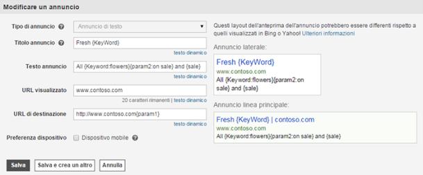 Schermata delle diverse modalità di immissione di parametri per la modifica della formattazione delle parole chiave, come ad esempio l'uso delle maiuscole.
