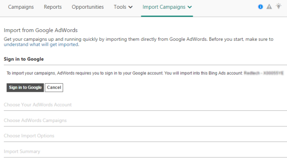 Importar de Google AdWords