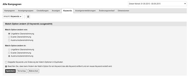 """Screenshot der Option zum Auswählen von Match-Optionen auf der Registerkarte """"Keywords"""" von """"Alle Kampagnen""""."""