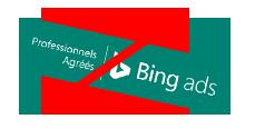Exemple de changement de proportions ou de forme du badge Professionnel agréé Bing Ads, ce qui est interdit.
