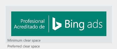 Ilustración que muestra el distintivo de Profesional acreditado de Bing Ads y la cantidad mínima y preferida de espacio libre.