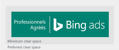 Illustration présentant le badge Professionnel agréé Bing Ads entouré de l'espace libre minimal et recommandé.