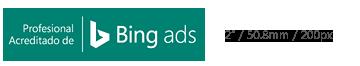 Distintivo de Profesional acreditado de Bing Ads mostrado en tamaño mínimo.