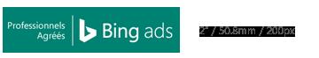 Badge Professionnel agréé Bing Ads illustré à sa taille minimale autorisée.