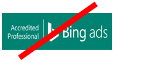 Example of a prohibited change in proportion or shape to the Microsoft Advertising Certified Professional badge.