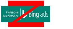 Ejemplo de un cambio prohibido de la proporción o la forma del distintivo de Profesional acreditado de Bing Ads.