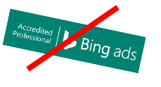 Example of a prohibited rotation to the Microsoft Advertising Certified Professional badge.