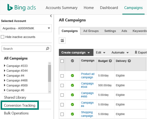 Setting up conversion tracking and goals