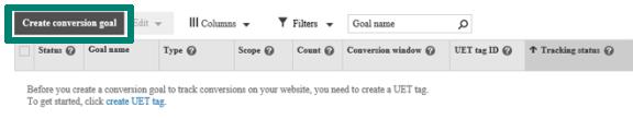 Create a conversion goal