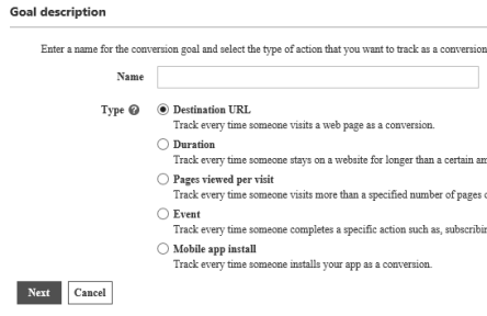 To create your goal, enter a name for the goal and then select the type of conversion goal you want to track
