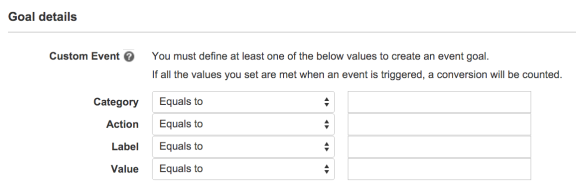 You can set up custom goals as well that include actions, extra details in a label, or various values