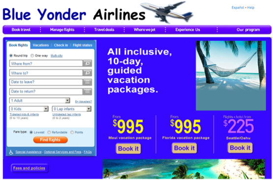 Screenshot of a  travel website landing page.