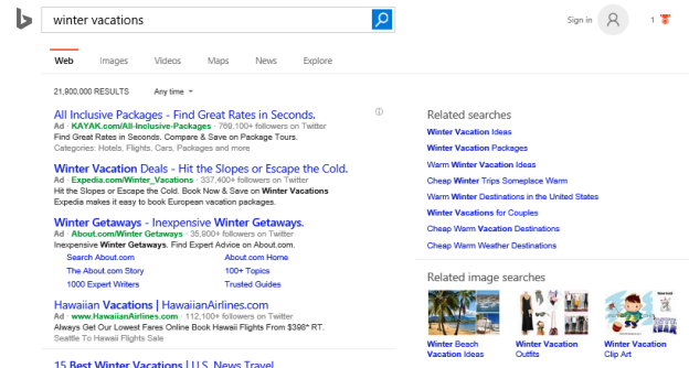 Screenshot of a search engine results page on Bing with winter vacations in the search bar.